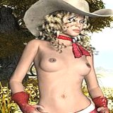 3d Sex : Raunchy Frizzy haired blonde 3D model in hat Dolly strips mini skirt and shows tiny cunt oudoors pornography