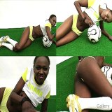 Office Sex : Flirty soccer babe from Ghana showing her perfect black butt exposed