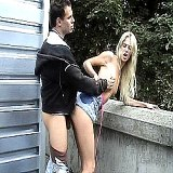 Outdoor Sex : An attractive blonde on the car wash practices sex for money. , enjoy!