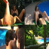 Asian Pussy : Erotic two fantastic oriental lesbian babes Chelsea Blue and Mia Smiles licking twats at the poolside