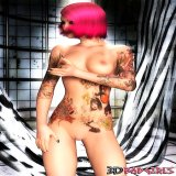 3d Sex : Pink haired 3D goth college girl Chloe showing her tattooed body and fuckable round butt